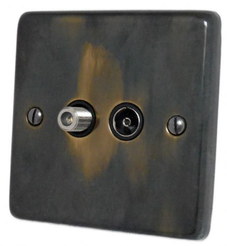 G&H CAN38B Standard Plate Polished Aged Brass 1 Gang TV Coax & Satellite Socket Point